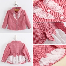 Fashion casual style beautiful lovely  Pendulum wrinkled hemming pattern baby girl Long sleeve blouses summer cotton shirts kids