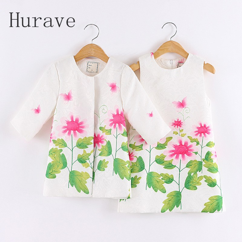 Hurave 2pcs/set,girl clothing sets formal kids clothes cute girls tracksuit sets children clothing suit coat+dress for girl<br>