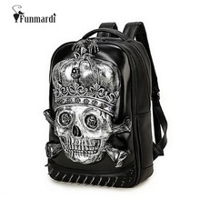 New arrival cool 3D Skull design PU leather backpacks vintage Rock leather bags Rivet computer bags fashion Travel Bags WLHB1454(China)