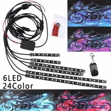 6pcs 8pcs 24Color 50W Motorcycle LED Strip Light Atmosphere Accent Neon Lamp W/Remote DC 12V(China)