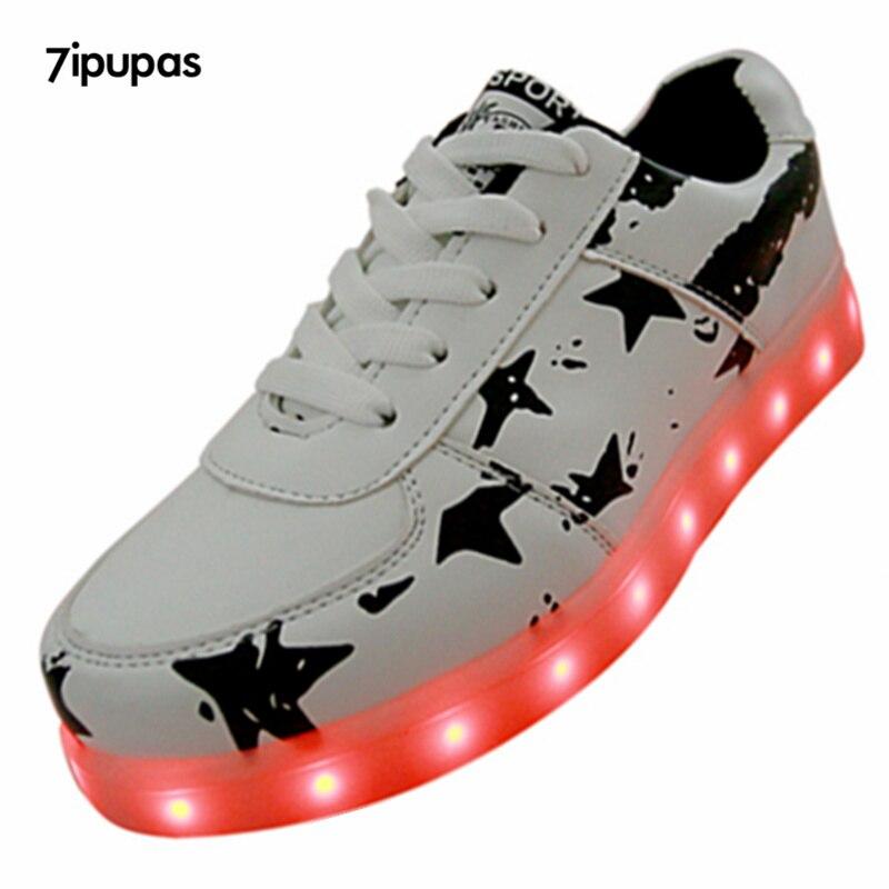 7ipupas 2017 11 Color luminous shoes Lovers couple LED glow shoe men&amp;Unisex New USB rechargeable light led shoes for adult sport<br><br>Aliexpress