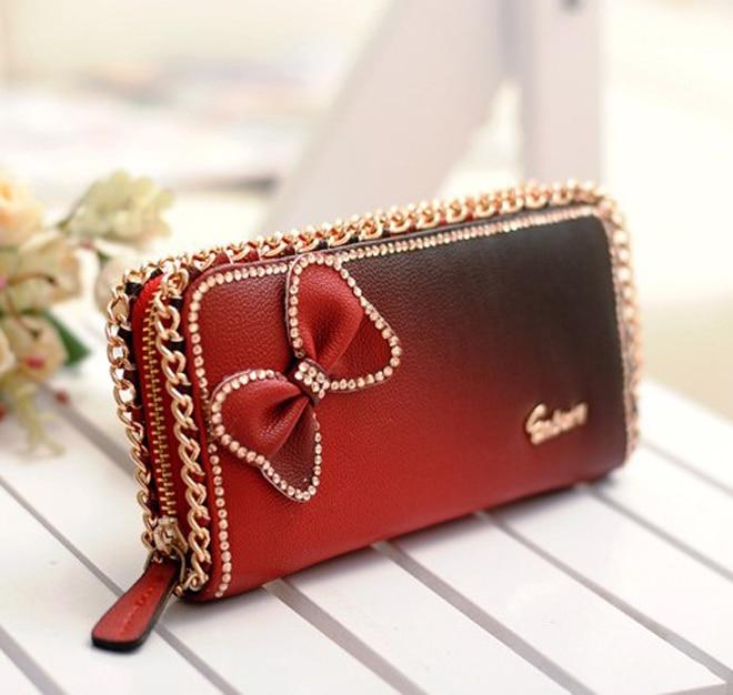 Brand Women Wallet Fashion Crystal Long Style Handbag Lady Girl Wallet Clutch Bow butterfly Diamond Women Purse<br><br>Aliexpress