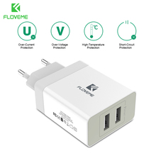 FLOVEME Universal Use 5V 3.4A USB Charger 2 USB Ports Mobile Phone Charger Travel Charger For iPhone Phone Charger(China)