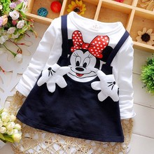 Free shipping 2016 Baby Girls Dress Cute Minnie Long Sleeve Spring Sport Princess Style Party Clothing(China)
