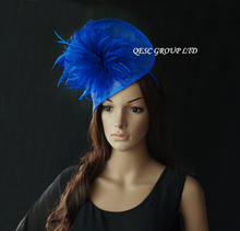 Sinamay feather fascinator for Kentucky Derby,wedding,14 colors.neon green,rust,black,ivory,red,navy,gold,violet,pink/wood