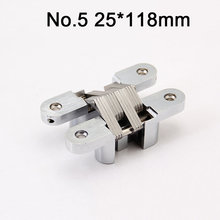 2PCS Stainless Steel Hidden Door Hinges Invisible Concealed 25x118mm Cross Hinges For Folding Door Load 40KG