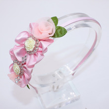 Beautiful Flower Child Hair Band Natural Color Cute Baby Hair Hoop Boutique Rhinestone Head Band Girls Hair Accessories(China)
