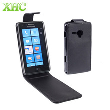 Mobile Phone Pure Color Up adn down Vertical Flip Leather Case Cover for Samsung Omnia M / S7530 Black(China)