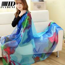 190*110cm Fashion Prints Chiffon Silk Scarf Female Summer Sarong Pareo Beach Cover Up Air Conditioned Ladies Large Silk Scarfs
