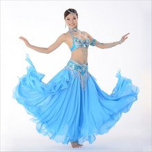 12 Colors Stage Performance Oriental Belly Dancing Clothes 3-piece Suit Bead Bra, Belt & Skirt Belly Dance Costume Set(China)