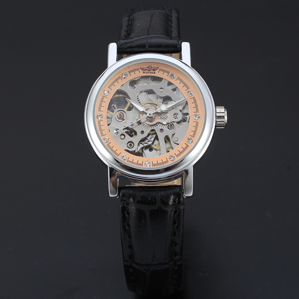 Women New Fashion Mechanical Watch Leather Band Ladies Concise Casual Luxury Business Wristwatch<br>