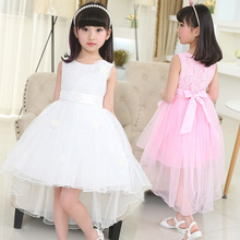 lace mesh little teenage girls party dress layered spring summer 2017 long girl princess gown dress white pink sundress clothes(China)