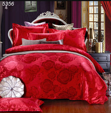 Luxury tencel jacquard silk flower red bedding set duvet cover bed sheet pillowcases 4pcs home wedding bed set Queen/King B5356
