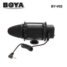 BOYA BY-V02 Stereo X/Y Condenser Microphone Professional Camera Interviews Microphone 3.5mm Mini-Jack Wired Broadcast Microphone