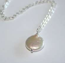 White Freshwater Coin Pearl Necklace Sterling Silver chain available(China)
