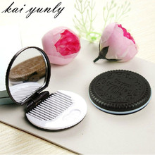 kai yunly 1pcs Cute Chocolate Cookie Shaped Design Makeup Mirror with 1 Comb Aug 30