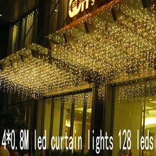 128 leds christmas Window decoration 4m Droop 0.8m curtain icicle string led lights 220V New year Garden Xmas Party Wedding
