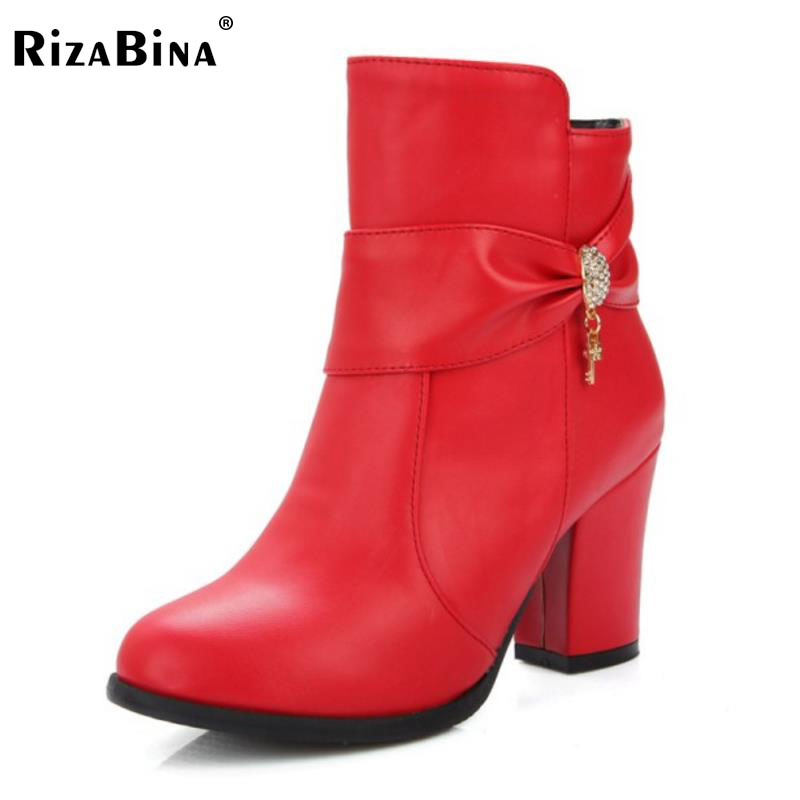 RizaBina Size 34-48 Sexy Women High Heel Boots Bowtie Zipper Half Short Boots Warm Fur Shoes Winter Short Botas Women Footwears<br>
