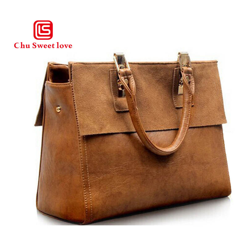 European and American style retro handbag ladies Messenger bag big temperament leather cow two-layer shoulder bag handbag<br>