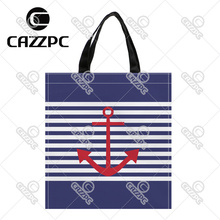 Vintage Navy Blue Stripe and Red Anchor Pattern Print Custom individual waterproof Nylon Fabric shopping bag gift bag Pack of 2