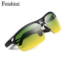 Genuine Day&Night Use Drivers Car UV Polarized Sunglasses Men SSports Elegant Add Green Yellow lens Metal Prevent Glare Glasses