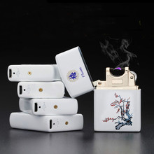 New Gift Latest Arc Pulse Charging Usb Charging Lighter Windproof Lighter Ultra-thin Porcelain Cigarette Cigar Plamsa Lighters(China)
