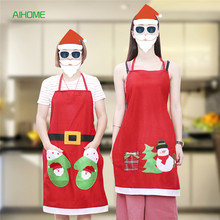 Lovely Christmas Style Women Baking Apron Santa Clause Kitchen Cooking Sleeveless Apron Backtie Restaurant Home Use(China)