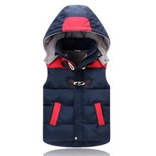 New 2017,Boy Winter Vest,Warm Coat,Kids Girl Waistcoat,Kids Boy Clothes,Baby Horn Button Down Jacket,For 2-6T Outerwear(China)