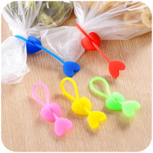 Silicone food bag clips snacks sealing clip strapping tape heart shaped colorful high elasticity and strength cable winder cable