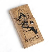 Free shipping cartoon long wallet ASSASSINS CREED NARUTO ONE PIECE many styles buckle long wallet