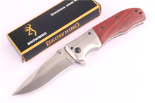 440C blade Steel Wood handle Folding knife Outdoor camping utility survival knives(China)