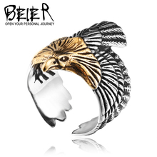 BEIER 2017 Unique Eagle Jewelry Stainless Steel Biker Eagle Ring Man's High Quality Animal Jewerly