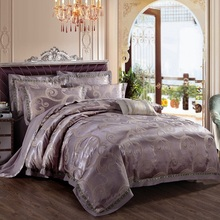 Luxury Satin silk Jacquard cotton 4pcs Bedding Set(1 duvet cover+1 bed sheet+2 pillowcase)king queen red wedding bed set