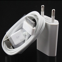 White 2 in 1 new 5V 2A EU Plug USB wall Charger+ sync data Charging Cable for apple iPhone 4 4s 3G 3GS(China)