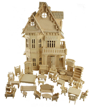 BOHS Toy Gothic Dolls House Wooden Scale Models 3D Puzzle DIY Play Doll House 1 Sets=1*House + 34*pcs Furniture ,30*18*45CM(China)