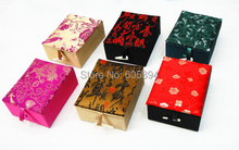 New Unique Pendant Display Case Chinese Silk Brocade Necklaces Jewelry Gift Boxes Wholesale 20pcs/lot Mix Color Pattern Free(China)