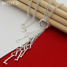Woman Jewelry 925 Silver Key Pendant Necklace Woman Luxury Charm Necklace Jewelry Free Shipping