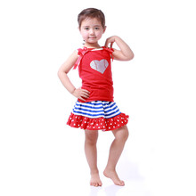 Patriotic Boutique Girls Clothing Set Top Tutu Skirt Little Girls Clothes 4th of July Outfit Skirt Set Toddler Girl Clothes