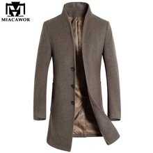 2017 New Winter Men Wool Trench Coat Men Long Trench Slim Fit Overcoat High Quality Men Coats Fashion Trench Outerwear MJ340
