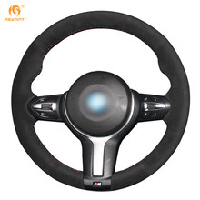 MEWANT Black Suede Car Steering Wheel Cover for BMW F87 M2 F80 M3 F82 M4 M5 F12 F13 M6 F85 X5 M F86 X6 M F33 F30 M Sport