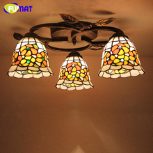 FUMAT Glass Art Lamp European Style Creative Round Dragonfly Rose Ceiling Lamps Stained Glass Light Fixtures For Living Room(China)