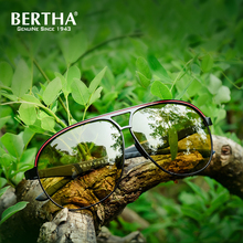 Bertha Yellow Polarized Sunglasses Men Women Night Vision Goggles Driving Glasses Driver Aviation Polaroid Sun Glasses 8606(China)