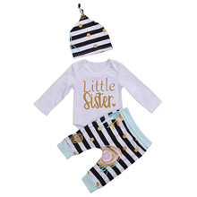 2017 New Brand Sisters Matching Kids Baby Girls Romper Pants Set T-shirt Dress Outfits 2pcs Set Spring Autumn Casual Clothes(China)