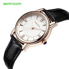 ec40b11227a SANDA Quartz Mulheres Relógio de Luxo Da Marca Mulheres Relógio De Couro Da  Forma Das Mulheres