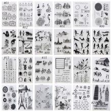 1PC New Alphabet Transparent Silicone Clear Rubber Stamp Sheet Cling Scrapbooking DIY Ctue Pattern Decorating Stamps