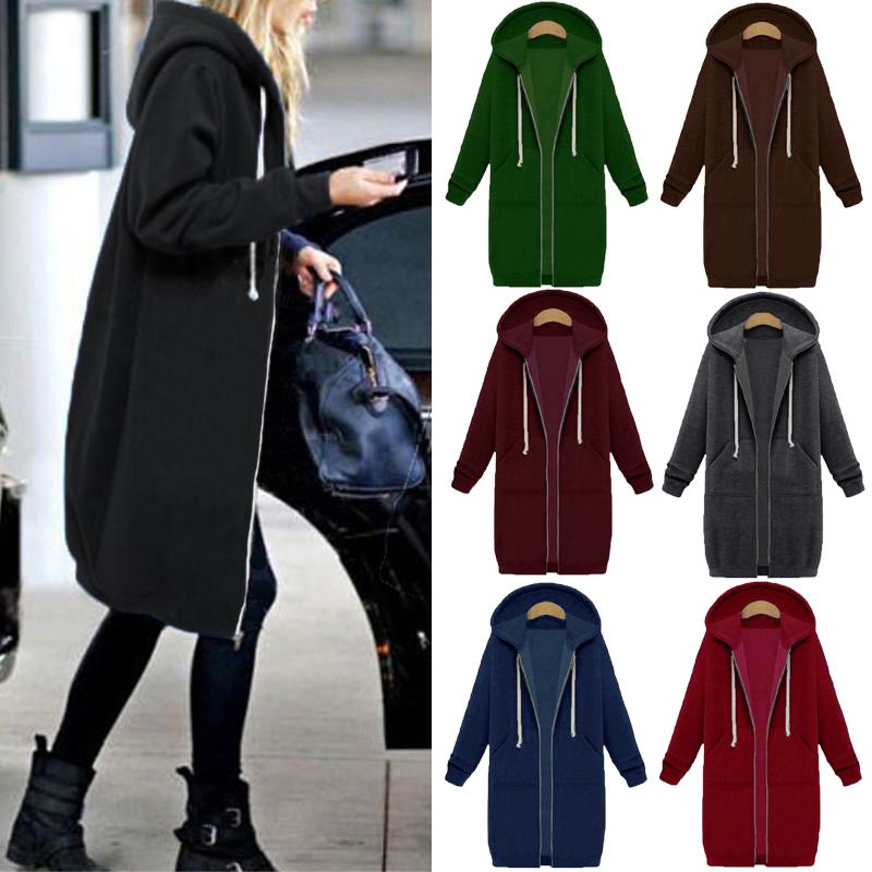 ZANZEA Damen Warm Winter Lang Mantel Langarm Outwear Zipper Coats Kragen Tasche