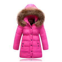 2017 Fashion Winter Girl's down jackets/coats Childrens down Coats real fur Girl thick duck down Warm jacket Outerwears jackets(China)