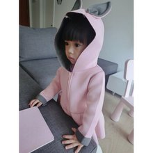 Baby Girls Coat Rabbit Design Cotton Zipper Autumn kids Girl Hooded Coats Children Jackets Hot