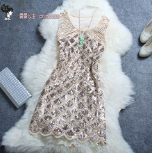 Free Shipping 2017 New Fashion Summer Fashion Beading Paillette One-piece Short Mini Dress Sequins Women Tank Dress High Quality