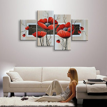 4 Panel Pictures Handpainted Acrylic Floral Paintings Abstract Red Flower Oil Painting On Canvas Handmade Modern Home Wall Art(China)